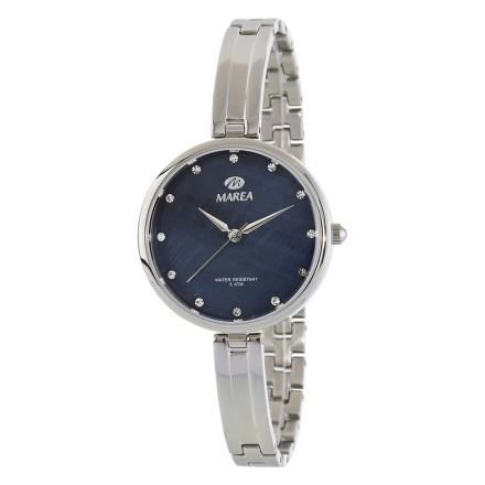 Reloj Marea mujer correa estrecha plateado fondo negro - b54142/2