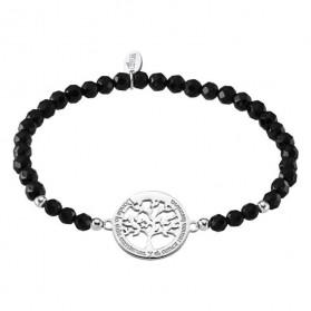 Pulsera Lotus Silver árbol de la vida con piedras negras LP1641-2/2