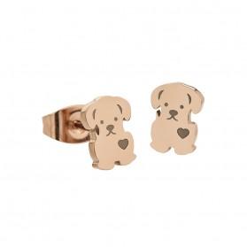 Pendientes Marea de acero - Perrito chapado oro rosa -D00301/20