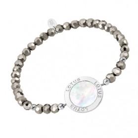 Pulsera Lotus Silver- Círculo nácar-piedras grises-Trendy-LP1830-2/2