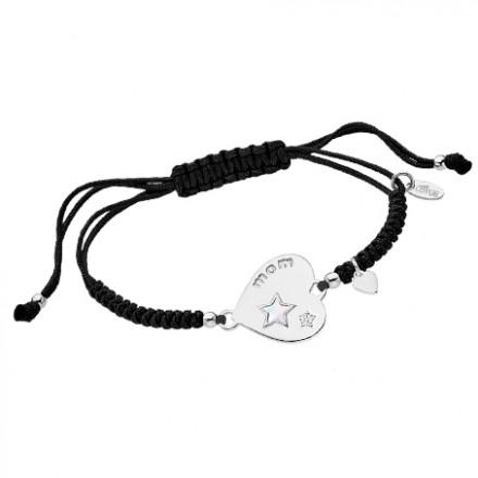 Pulsera Lotus Silver cordon negro y corazón con estrellas - LP1823-2/1
