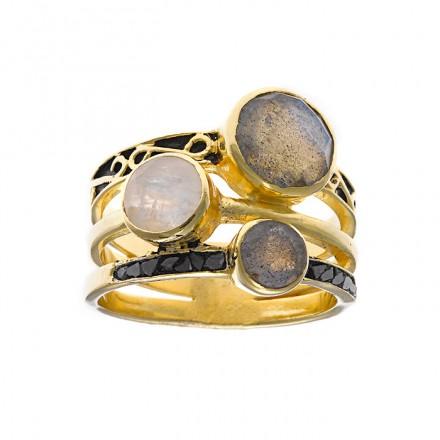 Anillo Salvatore de plata - Diamantes negros naturales -163S0203