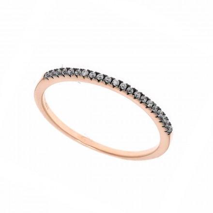Anillo Salvatore plata chapada en oro rosa con circonitas. 192S0025