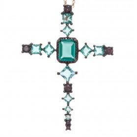 Gargantilla Salvatore plata fiesta - Cruz piedras de color - 234C0018