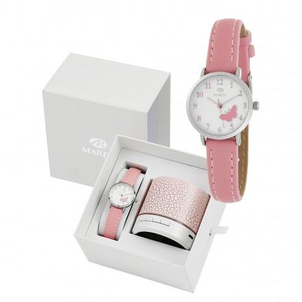 Reloj Marea infantil piel rosa mariposa - altavoz regalo B41249/2