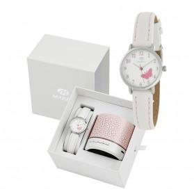 Reloj Marea infantil piel blanca mariposa rosa - altavoz regalo