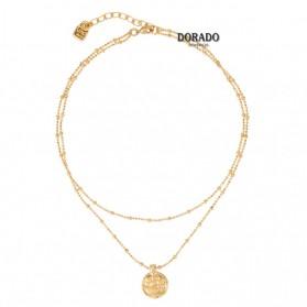 Gargantilla uno de 50 dorada doble bolitas medalla - navy - col1379oro